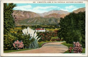A Beautiful Home in the Foothills, Southern California postcard