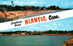 Connecticut Niantic Greetings Showing Crescent Beach and Niantic Bay & Railro...