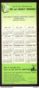 Richford, Vermont USA - F H Kelley, Hartford Insurance, 1958 calendar BLOTTER