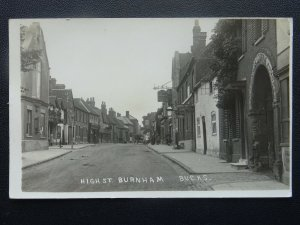 Bucks BURNHAM High Street shows THE GEORGE & SWAN HOTELS Old RP Postcard