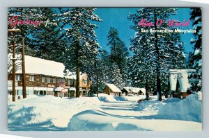 Rim O World Highway CA, Scenic Greetings, Wintertime, Chrome California Postcard