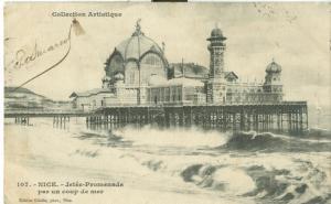 Nice, Jetee-Promenade par un coup de mer, 1907 used Postcard
