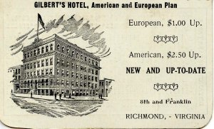 Gilbert's Hotel, Richmond, VA RR Fare & Distance Table. 1907  (5.5 X 4.5 op...