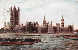 London The Parliament River Boats Bateaux 1904