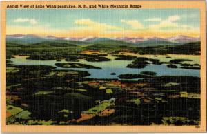 Aerial View Lake Winnipesaukee NH White Mountain Range Vintage Postcard N02