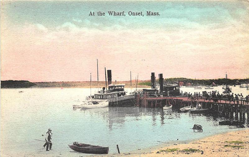 Onset MA At The Wharf Boats Hand Tinted Postcard