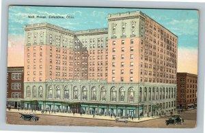 Columbus OH, Neil House, Automobiles, Vintage Ohio Postcard