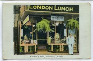 London Lunch Cafe Restaurant Belleville Ontario Canada 1930s postcard