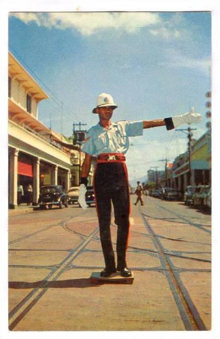 Point Duty on King Street, Greetings to Jamaica, British West Indies, 40-60s