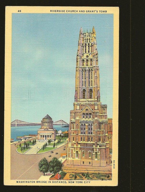 USA Postmark 1942 New York NY Riverside Church and Grants Tomb Linen Postcard
