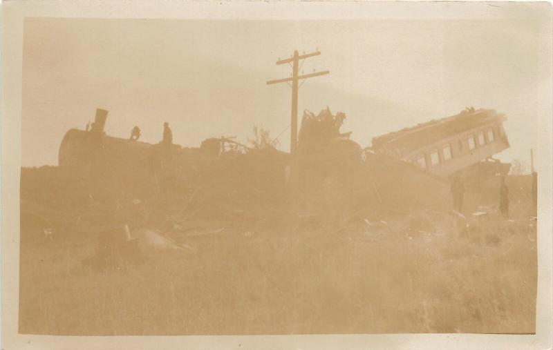 F25/ Interesting RPPC Photo Postcard c1910 Railroad Wreck Disaster 7