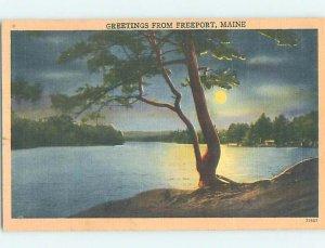 Linen NATURE SCENE Freeport - Near Bath & Brunswick & Portland Maine ME AD6759