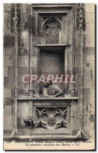 Old postcard Bourges Palais Jacques Coeur Facade detail of a servant waiting ...