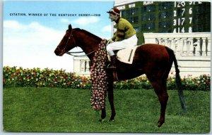 c1948 KENTUCKY DERBY Horse Racing Postcard CITATION Winner w/ Jockey KROPP Linen