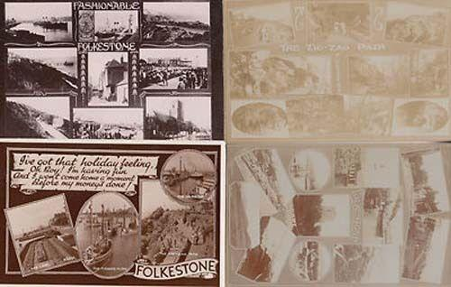 Folkestone Fashion Kent Zig Zag Path 4x Vintage Old Greetings Postcard s