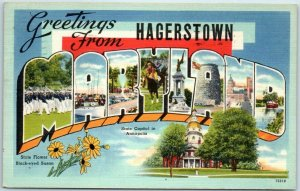 1949 Hagerstown, MARYLAND Large Letter Postcard w/ State Capitol Tichnor Linen