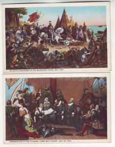 P340 JLs old postcard pilgrims & desoto usa unused