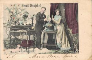 Happy New Year Vintage Couple Postcard 02.81