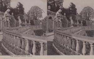 Stereoscope Postcard ; Terrace , Powis Castle , UK , 00-10s ; TUCK 2225