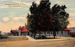 C9/ Kalamazoo Michigan Mi Postcard c1910 Michigan Central Railroad Depot