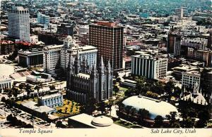 Temple Square Salt Lake City Utah aerial view UT pm 1973 Postcard