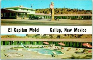 GALLUP New Mexico ROUTE 66 Roadside Postcard EL CAPITAN MOTEL Chrome 1963 Cancel