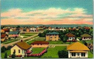 McLaughlin, South Dakota Postcard Bird's-Eye Panorama Town View Linen c1940s