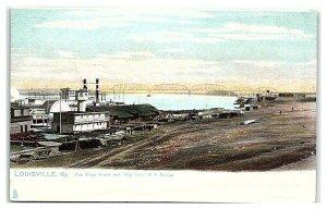 River Front and Big Four Railroad Bridge, Louisville, KY Postcard *7C4