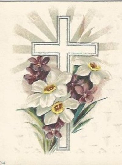 Easter Symbolism Books, Silver Gilded Cross, Purple Violets Vintage Postcard