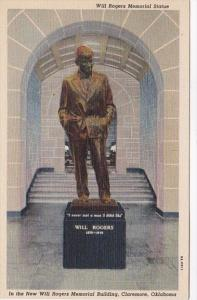 Oklahoma Claremore Will Rogers Statue In New Will Rogers Memorial Building Cu...