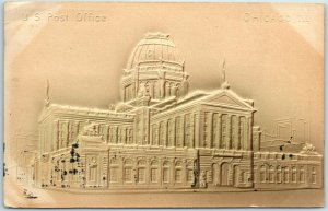 Chicago, IL Embossed Postcard Post Office Building / Street View 1907 Cancel