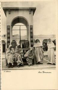 libya, Native Arab Men at the Fountain (1940s) H. Schlösser Photo