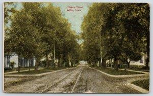 Albia Iowa~Trolley Tracks Through Clinton Street~Homes Both Sides~1913 Postcard