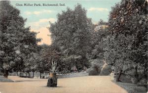 Richmond Indiana~Glen Miller Park Scene~Potted Plant on Rock~c1910 Postcard