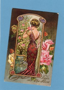 Fair Is The Rose, Lady / Woman With Flowers Postcard Embossed