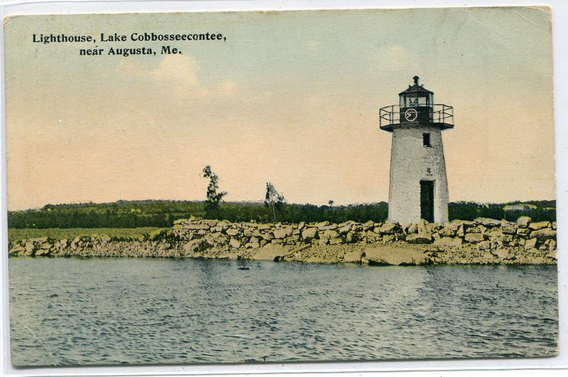 Lighthouse Lake Cobbosseecontee Augusta Maine 1919 postcard