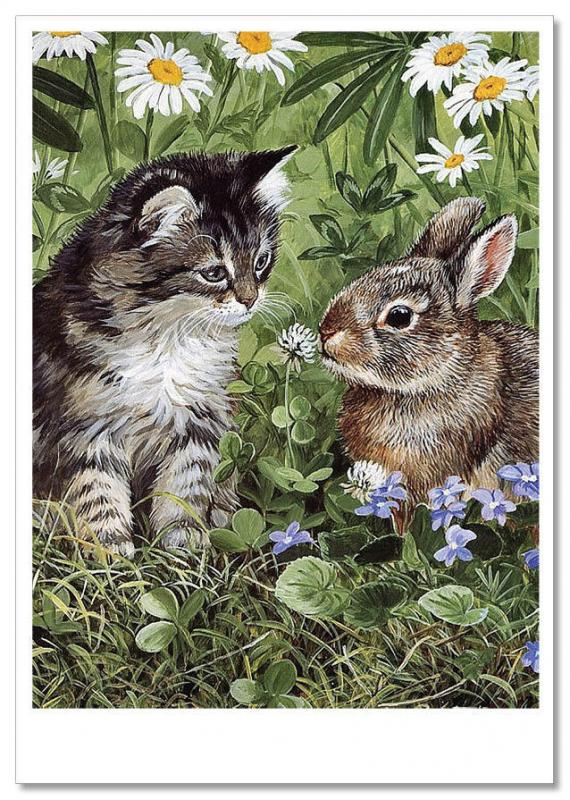 Persis Clayton Weirs ART~ Gray KITTEN and BUNNY Rabbit Russian  Modern Postcard