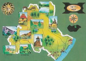 Heves County Hungary Map Megye 1970s Postcard