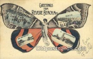 Greetings from Revere Beach, Mass, USA Horse 1906 glitter on card