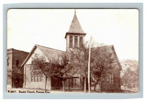 Parsons KS, Baptist Church Vintage Kansas c1910 Postcard