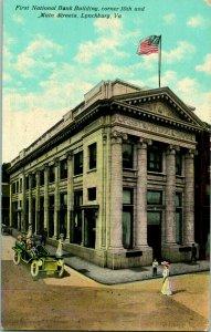Vtg Postcard c 1910 - First National Bank Building 10th & Main St. Lynchburg VA