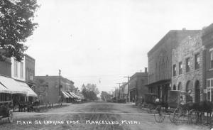Marcellus Michigan~Main Street~Hardware~Hudson Dry Goods~Oliver Plows~1915 RPPC