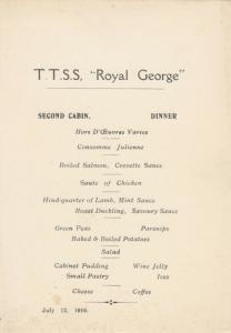 Royal Line Ocean Liner T.T.S.S. ROYAL GEORGE 1910 ; DINNER Menu, 2nd Cabin