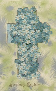 Joyous EASTER, 1900-10s; Blue Flowers covering a Cross, Booklet PC, WINCH