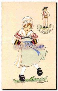 Old Postcard Auvergne Illustrator Costume