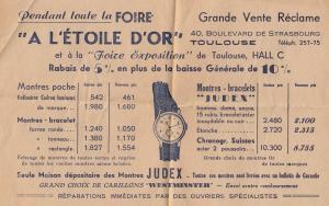 French Watch Swiss Old 1930s Shop Leaflet Advertisement France Ephemera