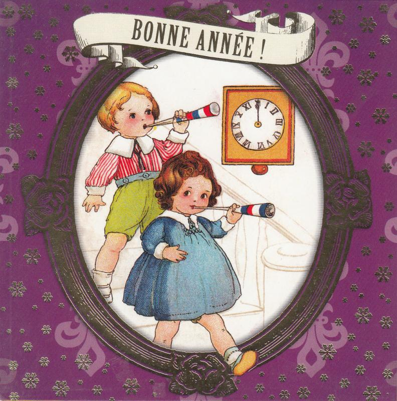 children couple caricatures new year greetings clock fantasy 13x13cm new