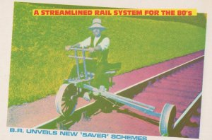 Streamlined Rail Track System Unique Bicycle Cycle Comic Postcard