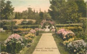 1935 New Canaan Connecticut Collinwood Sunken Garden hand colored 11844