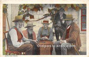 Old Vintage Chess / Checkers Postcard Post Card Cape Cod Folks 1922